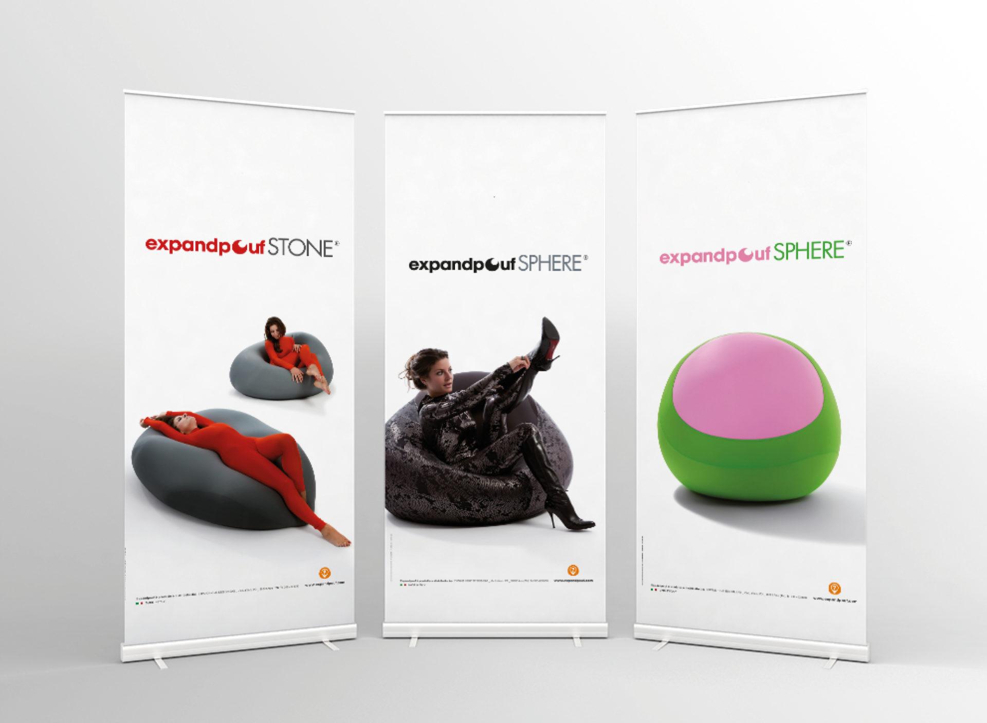 progetto per stand-up autoportanti e per il marchio expandpouf creato dalla aggenzia di pubblicità diadestudio arco di trento