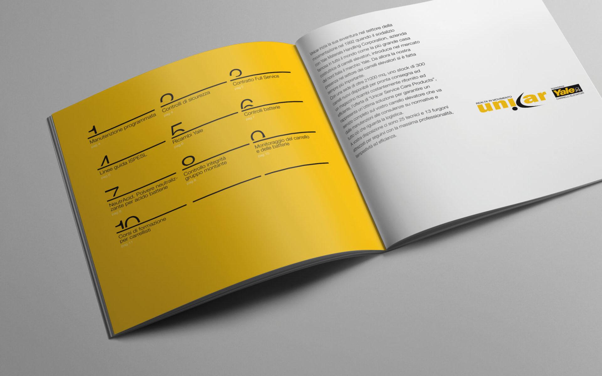 dettaglio pagine di apertura per depliant di presentazione aziendale progettato da diadestudio per unicar