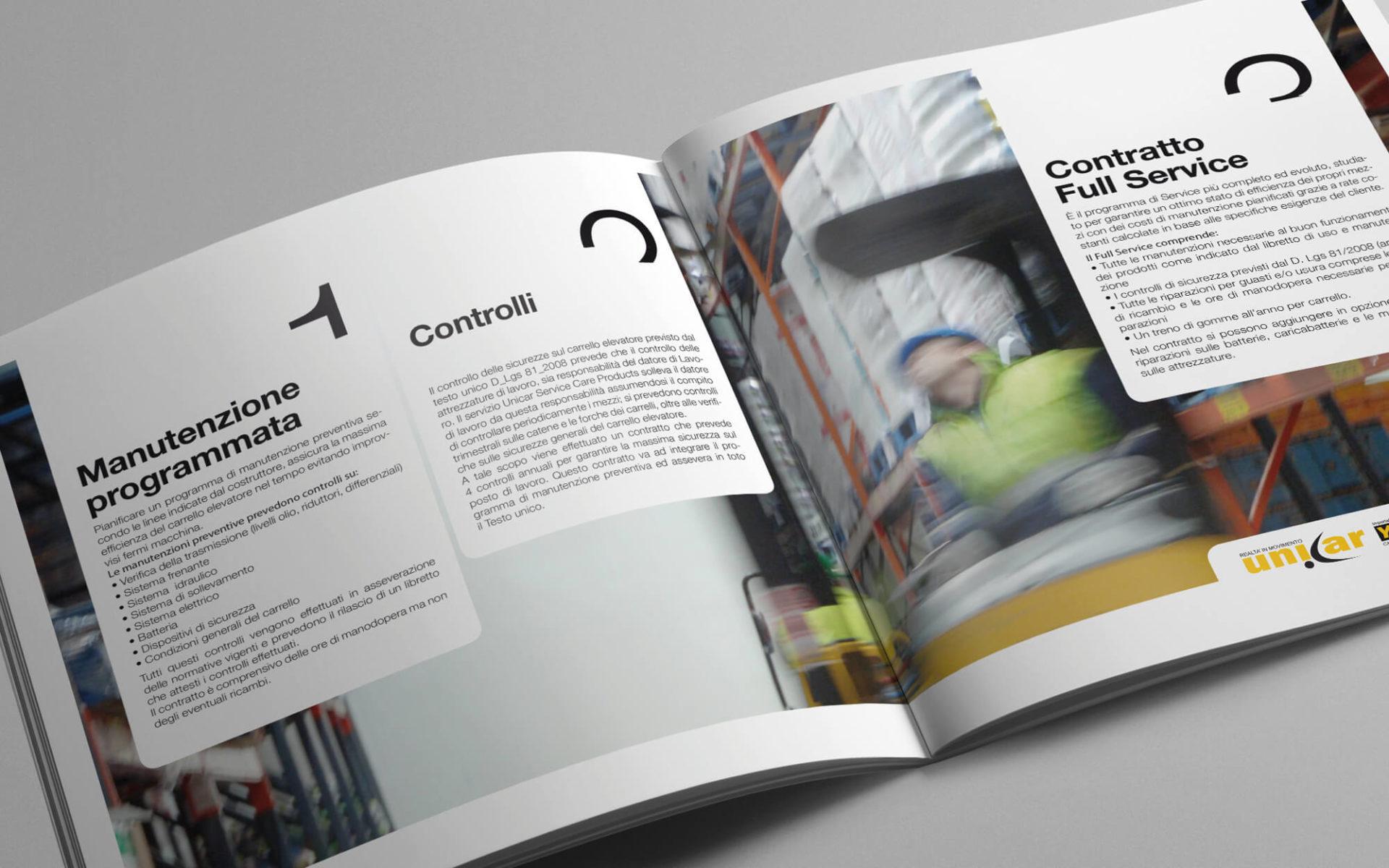 pagine interne della brochure aziendale unicar, creata dalla agenzia di pubblicità diadestudio di arco di trento
