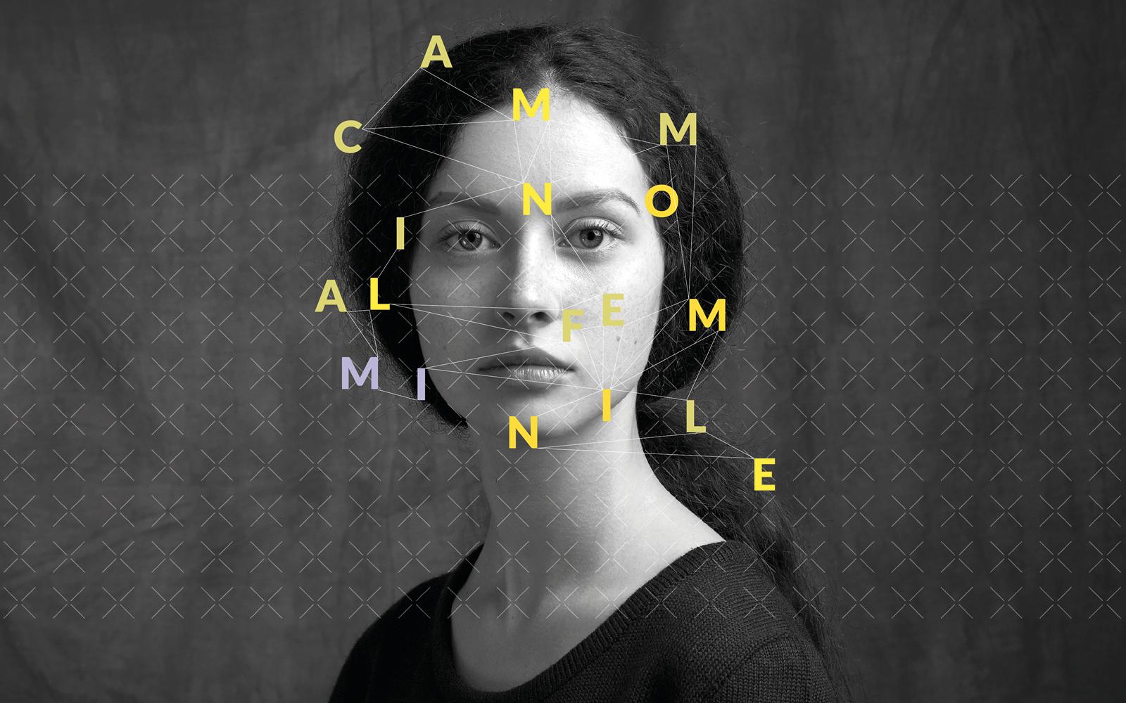 dettaglio del manifesto progettato dalla agenzia grafica pubblicitaria Diadestudio per la manifestazione di arte Ars Foemina