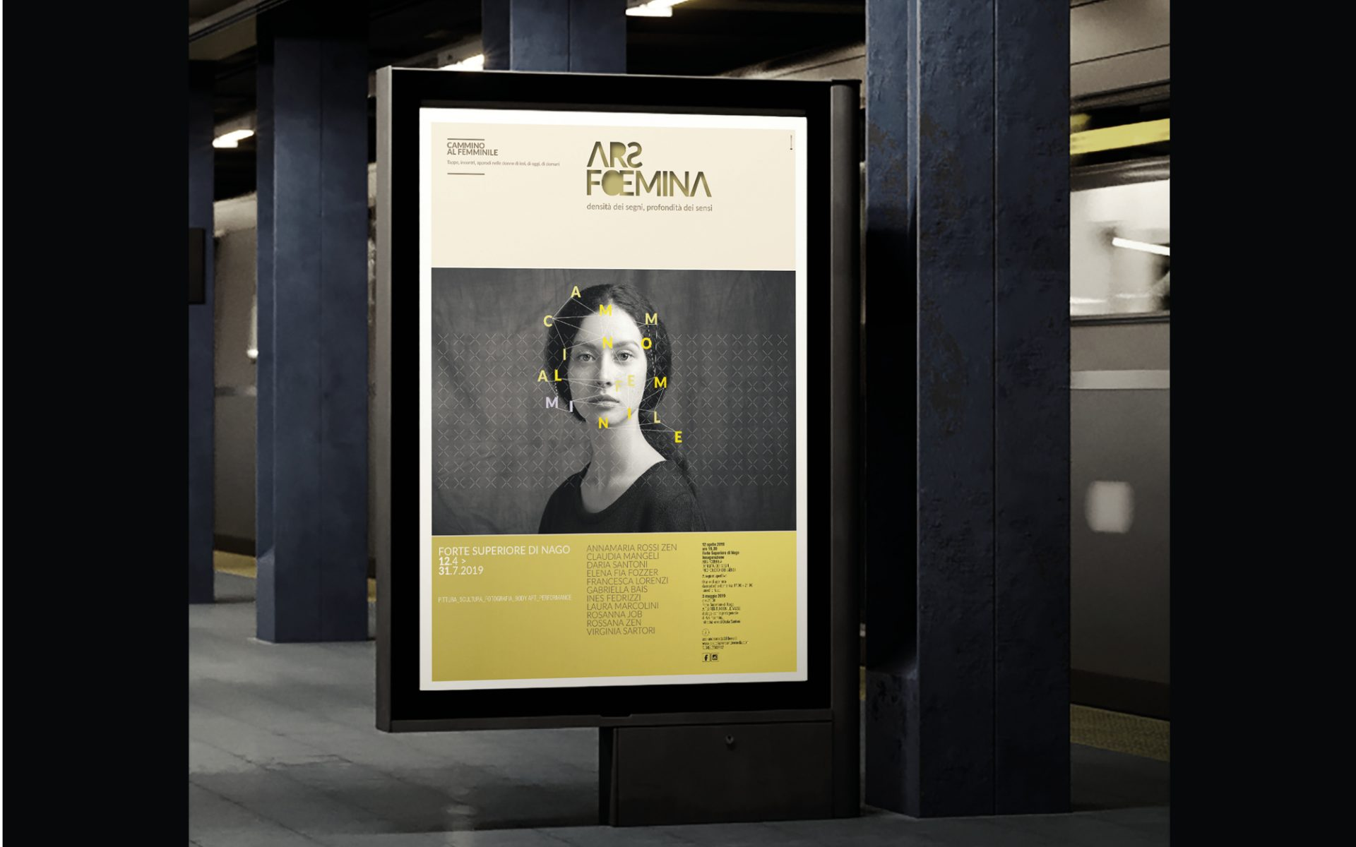 manifesto progettato dalla agenzia grafica Diadestudio per la mostra di arte al femminile Ars Foemina