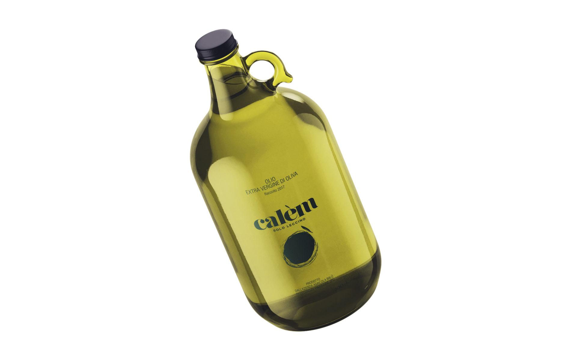 progetto grafico del marchio e dell'etichetta per bottiglia olio calem, creato dalla agenzia grafica diadestudio di arco di trento