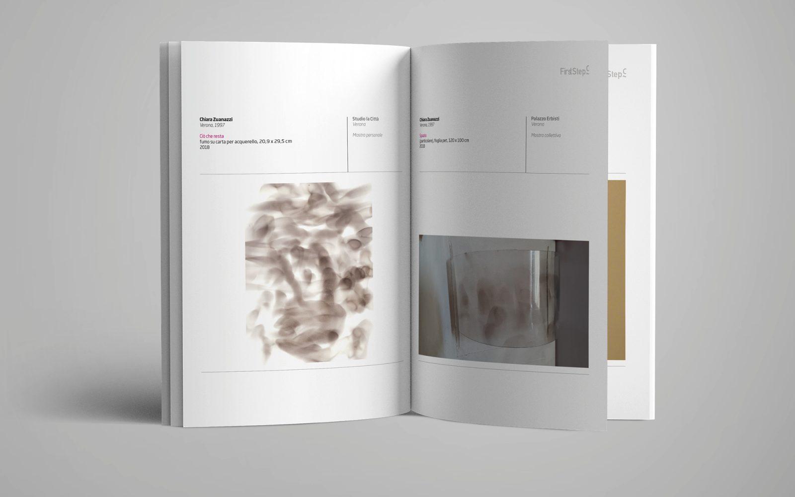 dettaglio delle pagine interne del catalogo First step 9 di Accademia belle arti Verona, progetto grafico dello studio grafico Diadestudio.