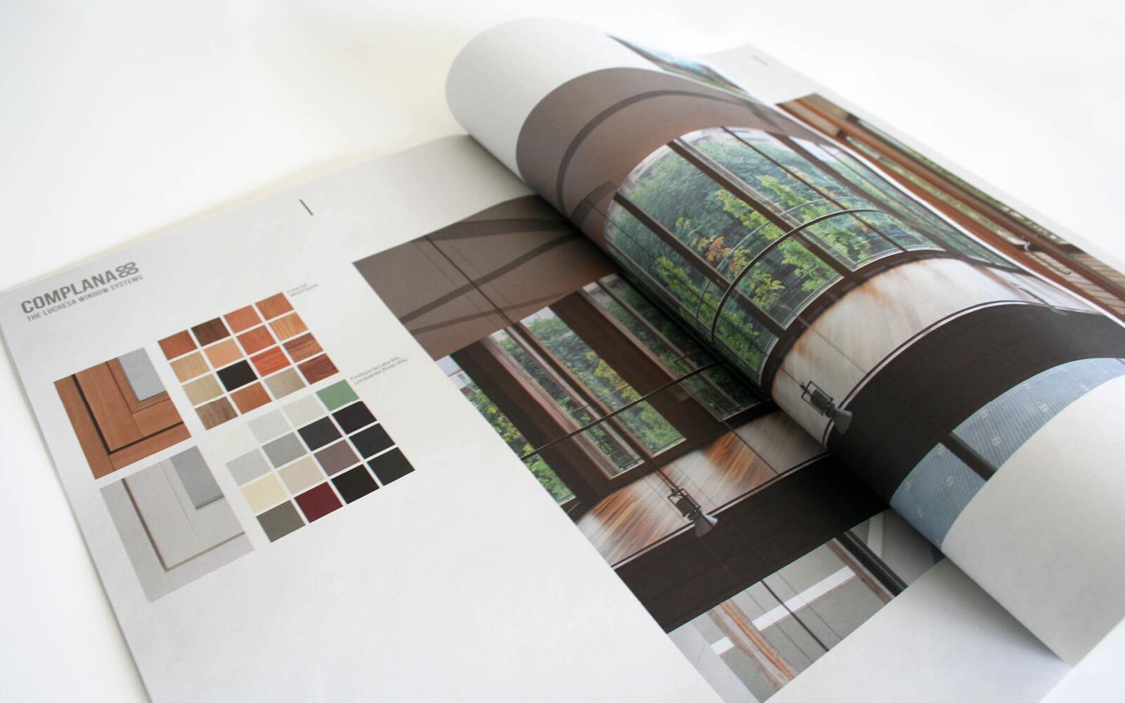 pagine interne del grande depliant in formato tabloid, per la vendita di serramenti, creato da diadestudio arco di trento