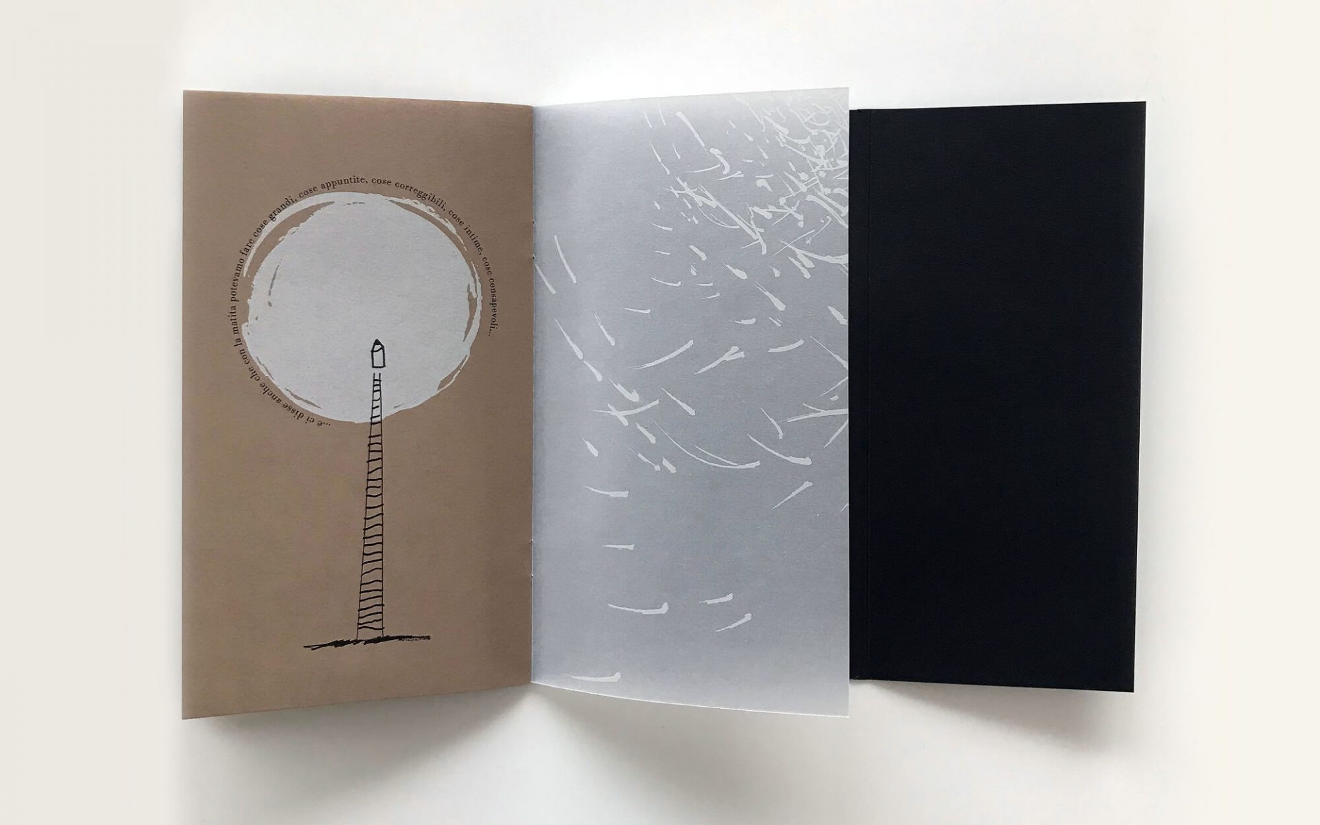particolare della brochure illustrata La Matita di Garrone, progettata dalla agenzia di pubblicità Diadestudio di Arco TN. Illustrazioni di Laura Marcolini