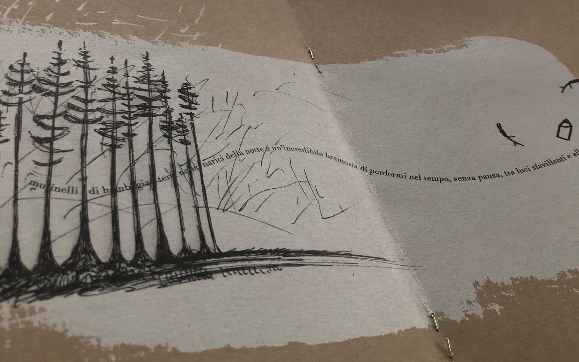 particolare della pubblicazione La Matita di Garrone, illustrata da Laura Marcolini per Diade studio, e stampata su cartoncino da pacco