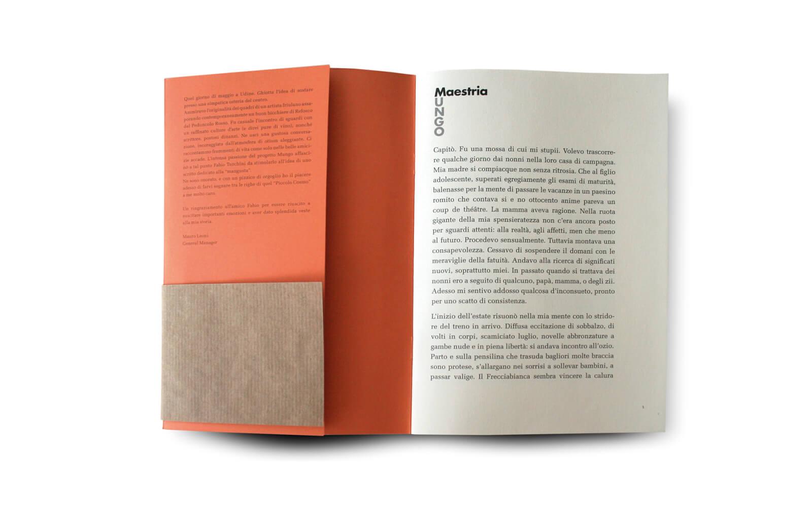 dettaglio della copertina pagine interne della brochure -quel piccolo cosmo- rilegata a spago, progetto dello studio grafico diade di trento