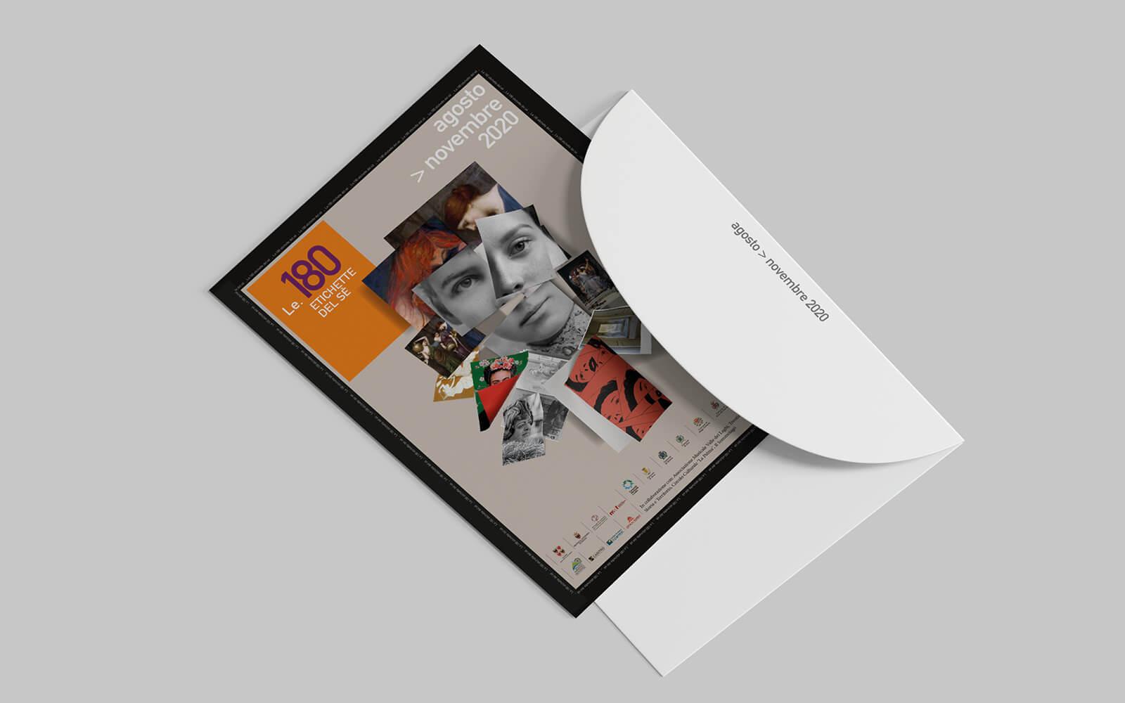 invito aell'evento Le 180 etichette del se. Dettaglio del progetto grafico ideato dallo studio grafico diadestudio Arco Tn