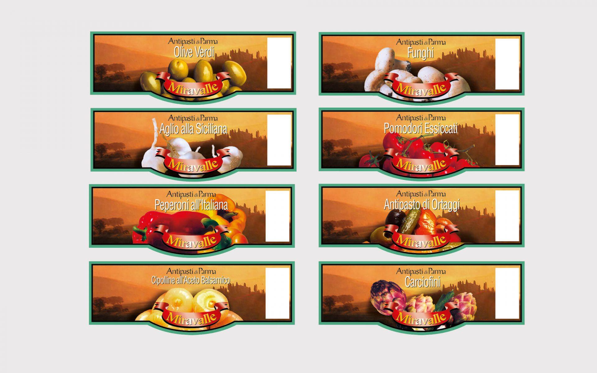 linea etichette alimentari per barattolo sottoli, progettata dallo studio grafico diade arco di trento per provinco Italia