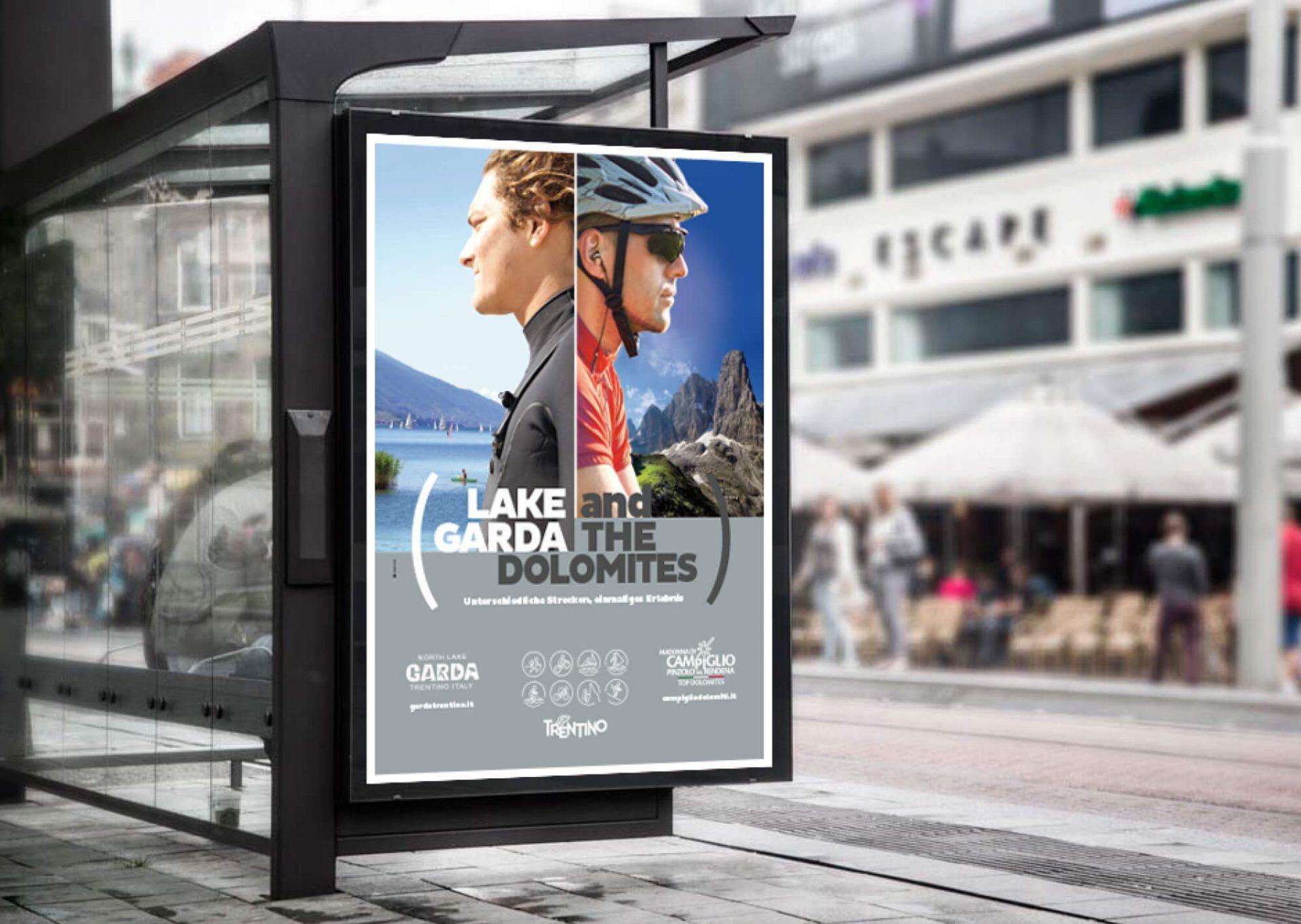 manifesto stradale pubblicitario per la promozione delle attività apt madonna di campiglio - garda trentino, progettato dalla agenzia di comunicazione diade studio arco trento