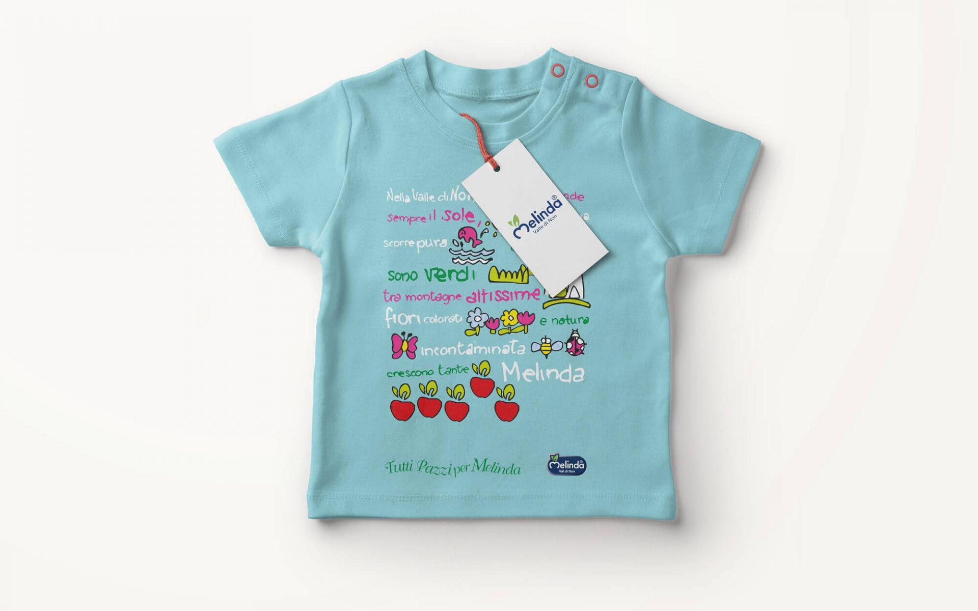 illustrazione per t-shirt bambino creata per melinda, progetto grafico studio grafico diade arco trento