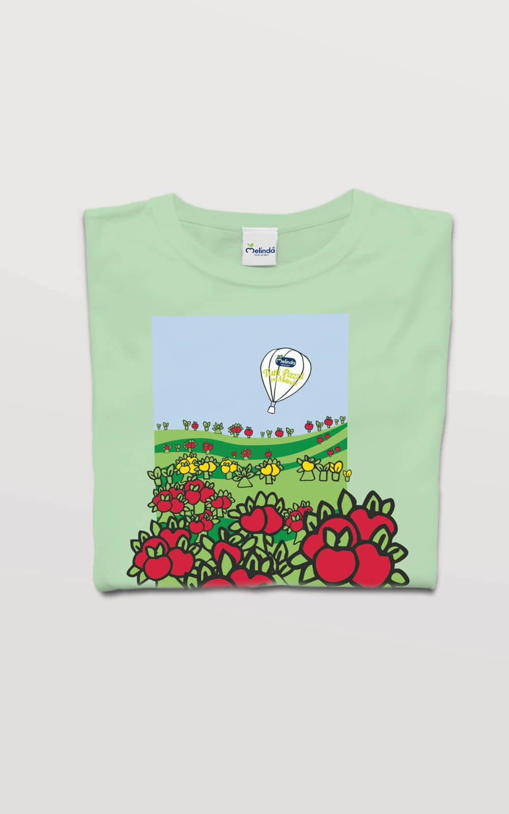 illustrazione per t-shirt adulto creata per mondomelinda, progetto grafico studio grafico diade arco trento