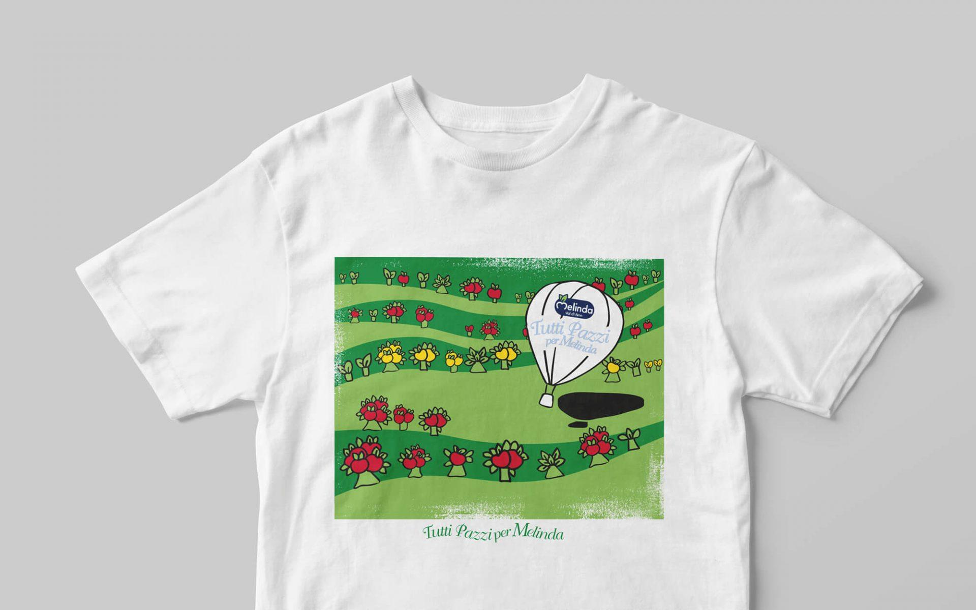 illustrazione t-shirt creata per mondo melinda, progetto grafico studio grafico diade agenzia di comunicazione arco trento