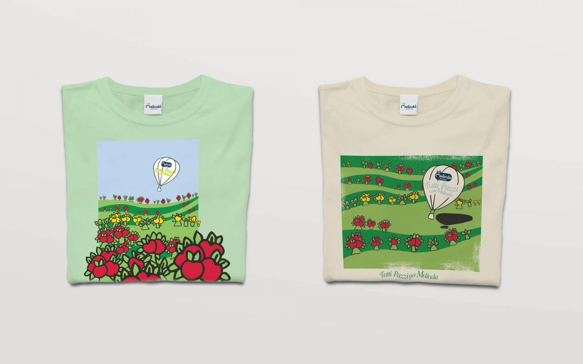 illustrazioni per personalizzazione magliette Mondo Melinda, disegnate dalla agenzia di comunicazione diadestudio arco trento