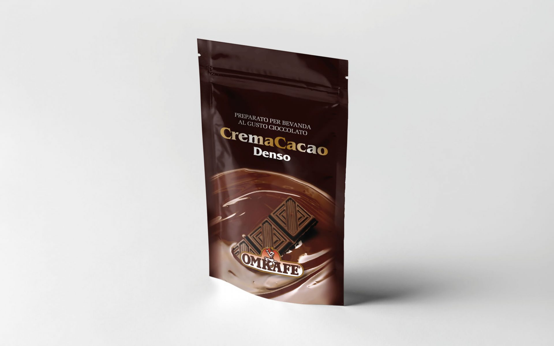 busta alimentare per bevanda al cacao, progettata dalla agenzia grafica diadestudio arco trento per omkafe