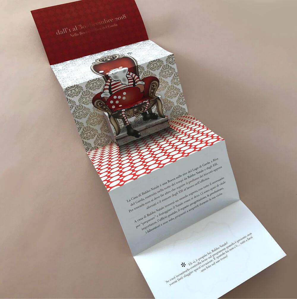 pieghevole popup a sei pagine, creato per Casa Babbo Natale Riva del Garda dallo studio grafico diade studio arco di trento, agenzia di pubblicità