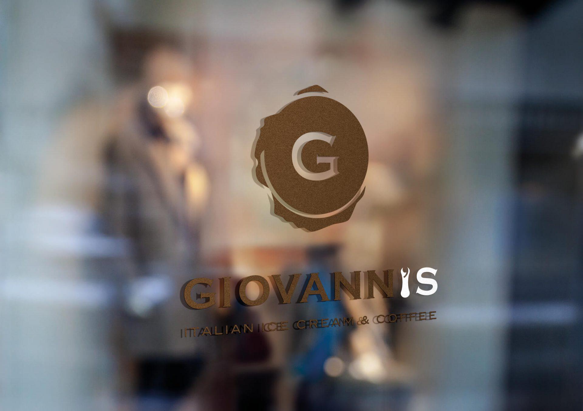 progetto del marchio e vetrine per gelateria -giovanni- realizzato dallo studio grafico diadestudio