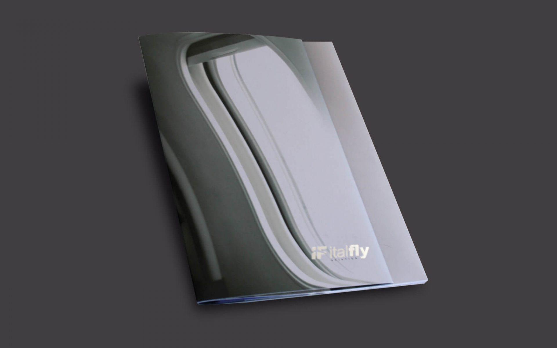copertina dell'elegante brochure Italfly, progetto grafico diadestudio agenzia di pubblicità arco trento