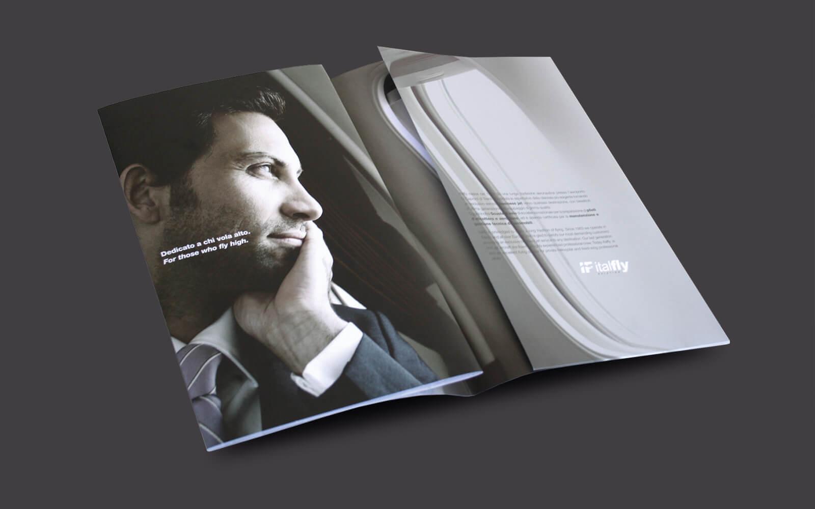 particolare delle pagine interne brochure Italfly, progettata dallo studio grafico diade arco di trento