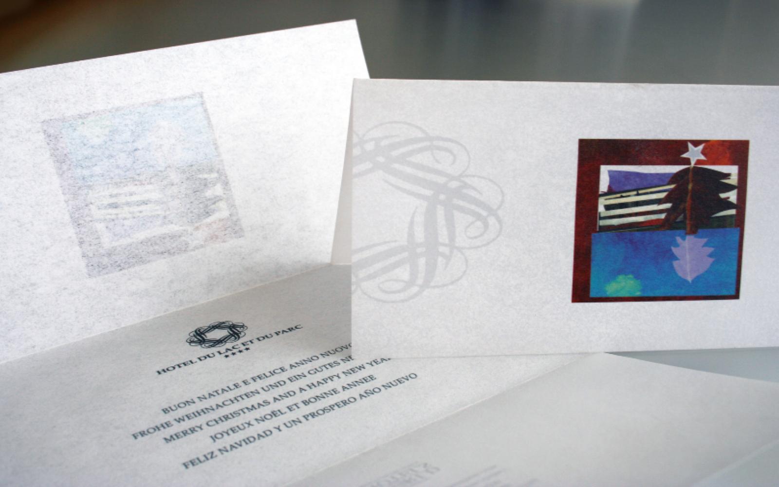 elegante christmas card creato per hotel du lac, stampato su carta pergamena, progetto studio grafico diade arco trento