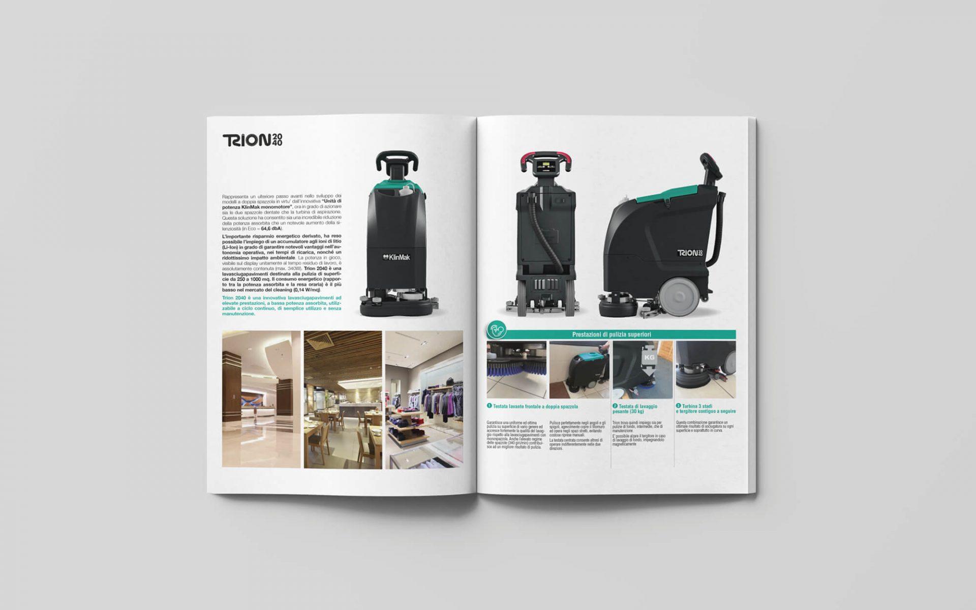 dettaglio pagine interne catalogo prodotti pulizia progetto grafico della agenzia di pubblicità diade studio arco di trento