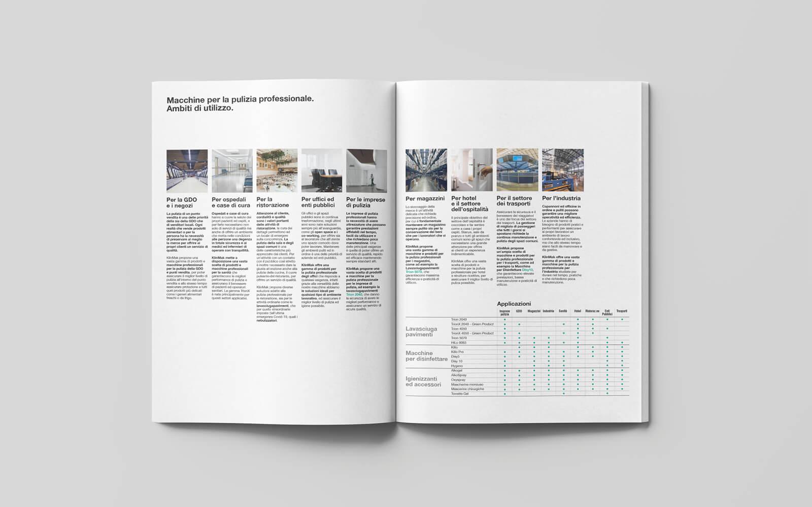 dettaglio pagine introduttive catalogo prodotti pulizia progetto grafico della agenzia di pubblicità diade studio arco di trento