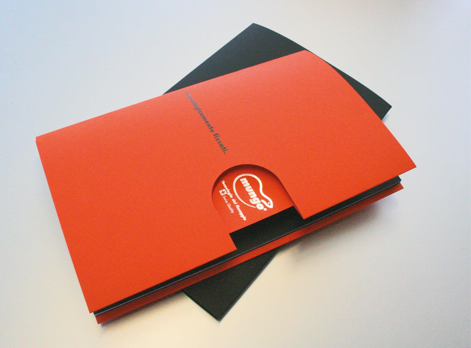 copertina e custodia company profile mungo italia, progetto agenzia diade studio grafico arco trento