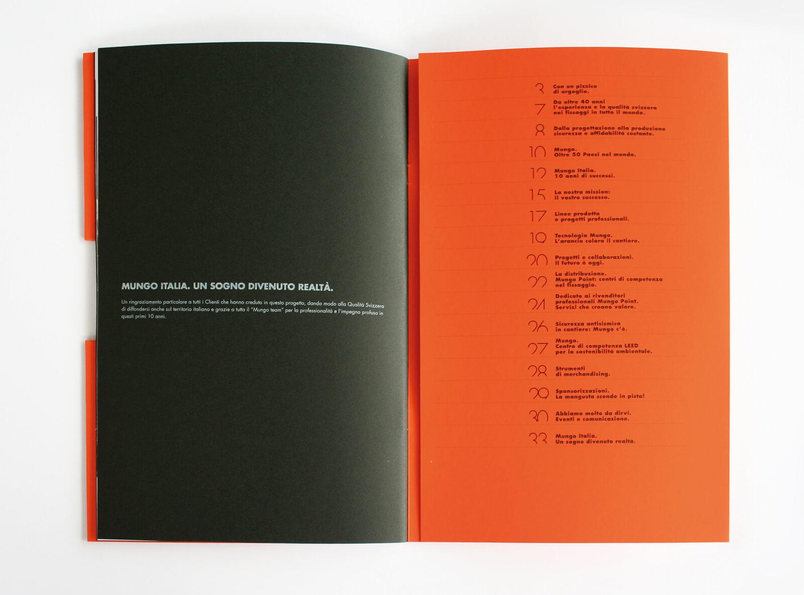 dettaglio pagine interne brochure aziendale mungo italia, progetto agenzia diade studio grafico arco trento