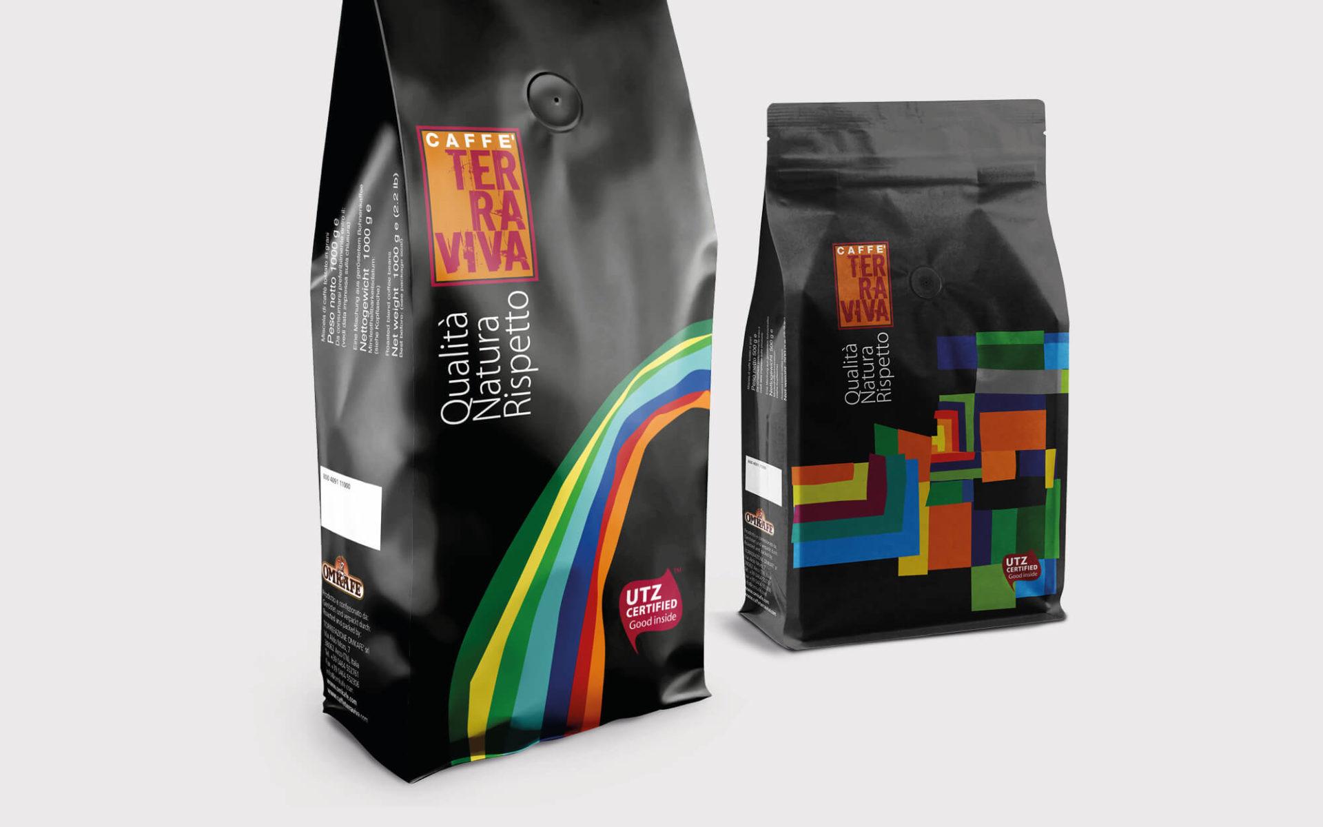 sacchetto caffè terraviva, progetto grafico per confezione alimentare creato da diadestudio agenzia di comunicazione arco trento