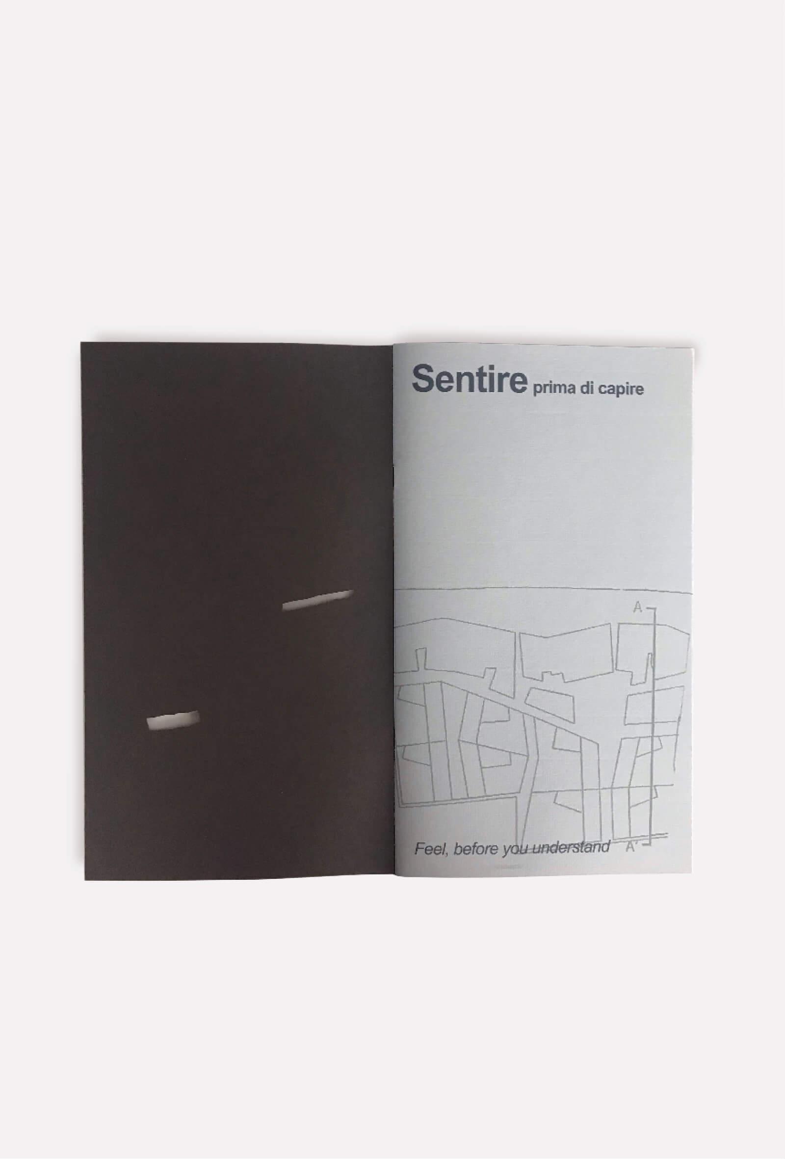 dettaglio copertina e pagine interne brochure per progetto architettura, illustrazioni diadestudio agenzia di comunicazione arco di trento