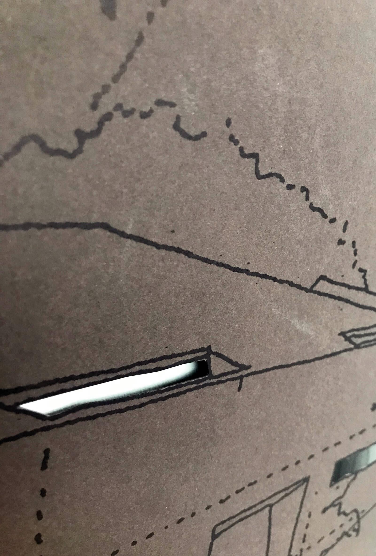 dettaglio fustella di copertina e pagine interne brochure per progetto architettura, illustrazioni diadestudio arco di trento