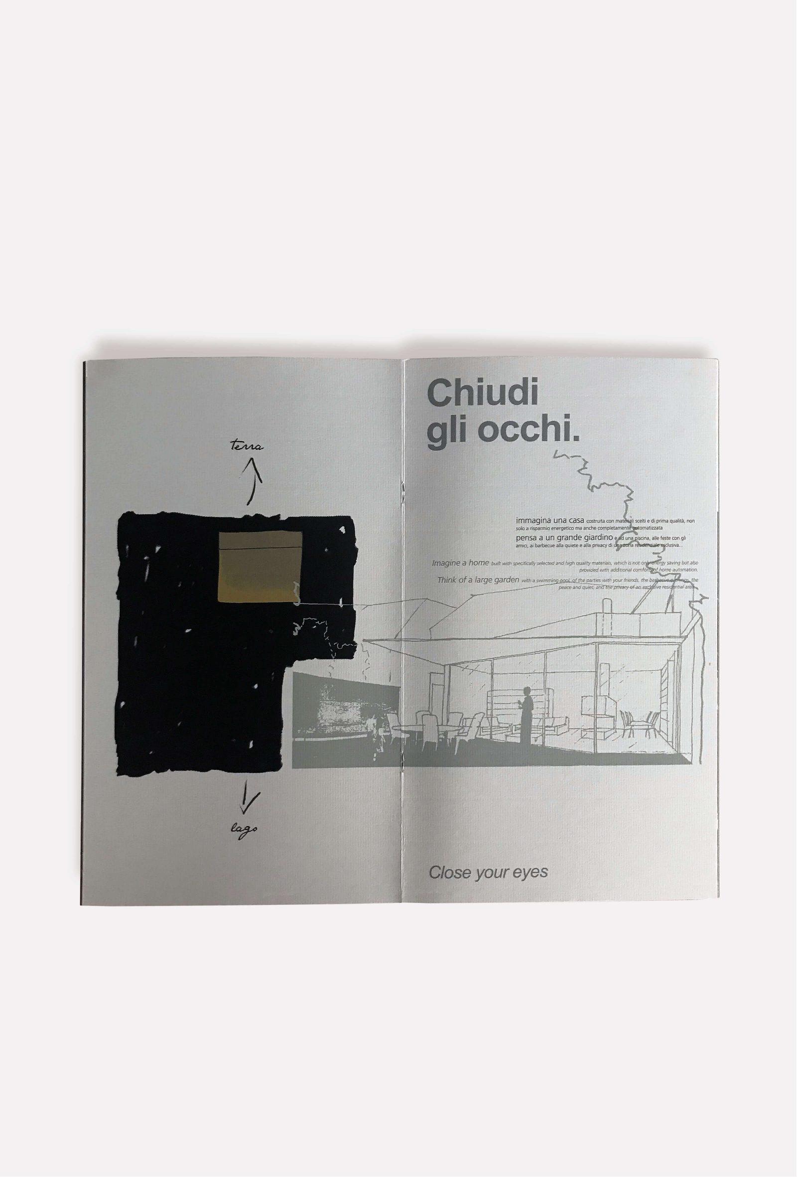 illustrazione per architettura, brochure parco al lago, progetto diade studio grafico arco di trento