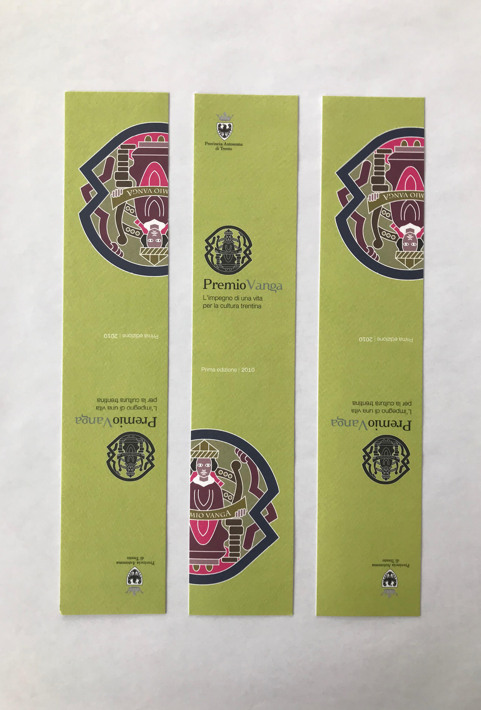 segnalibro illustrato creato per l'evento Premio Vanga dalla agenzia di pubblicità diadestudio arco trento