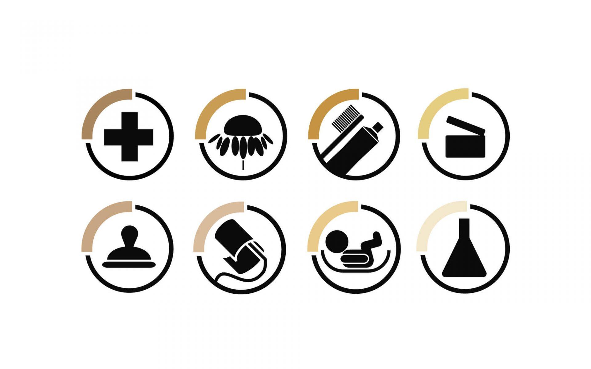 icone grafiche e immagine coordinata per arredo farmacia, progetto grafico diadestudio arco di trento