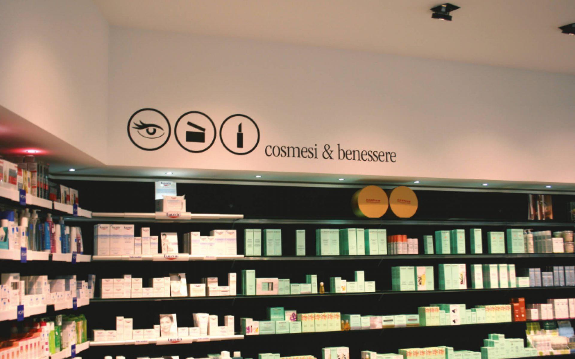 progetto per allestimento grafico interno farmacia, creazione delle icone reparti, progetto diadestudio agenzia di comunicazione arco di trento