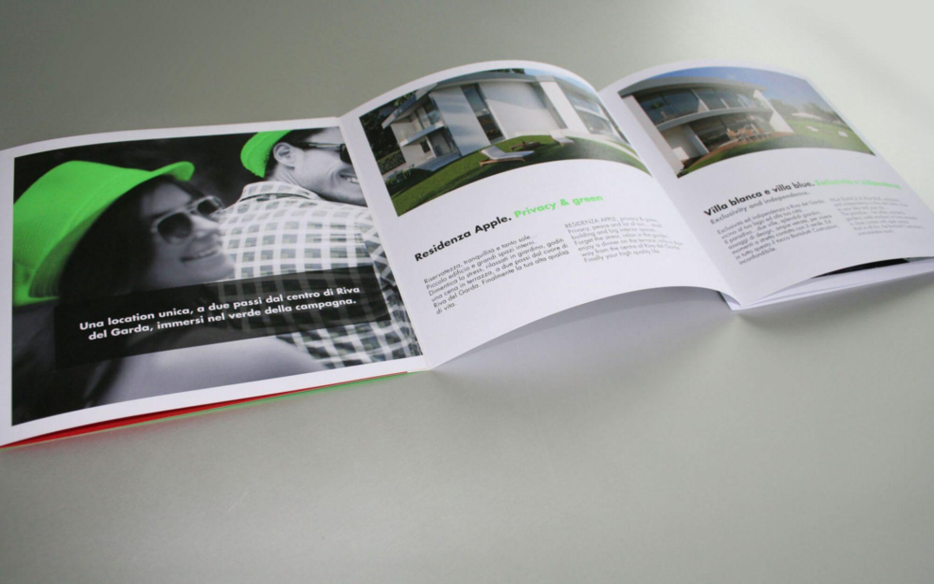 dettaglio pagine interne depliant vendite immobiliari, progetto elegante e grafica in bianconero, design dello studio di comunicazione Diade studio Arco di Trento