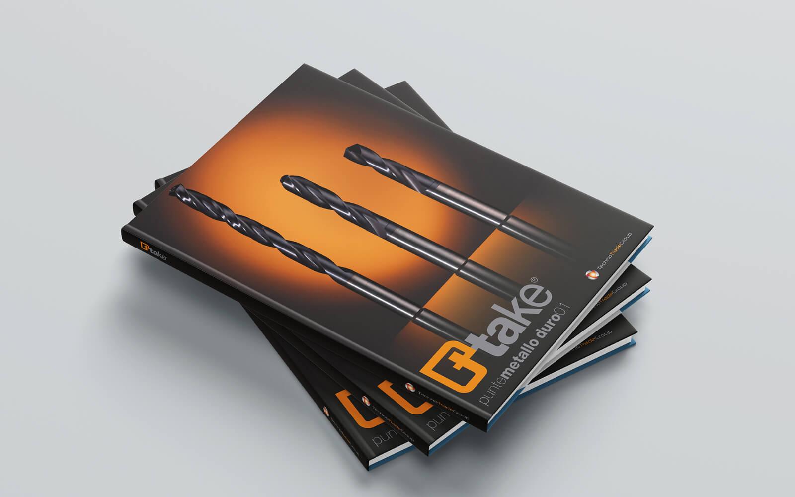 copertina del catalogo punte metallo ttake, progettata dallo studio grafico diade arco di trento