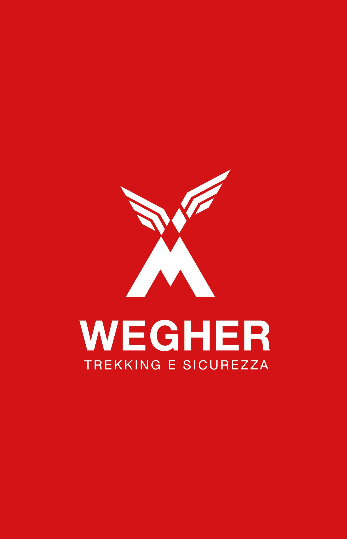 wegher trekking, progetto del marchio, versioen negativo fondo rosso, progetto studio grafico diadestudio arco trento