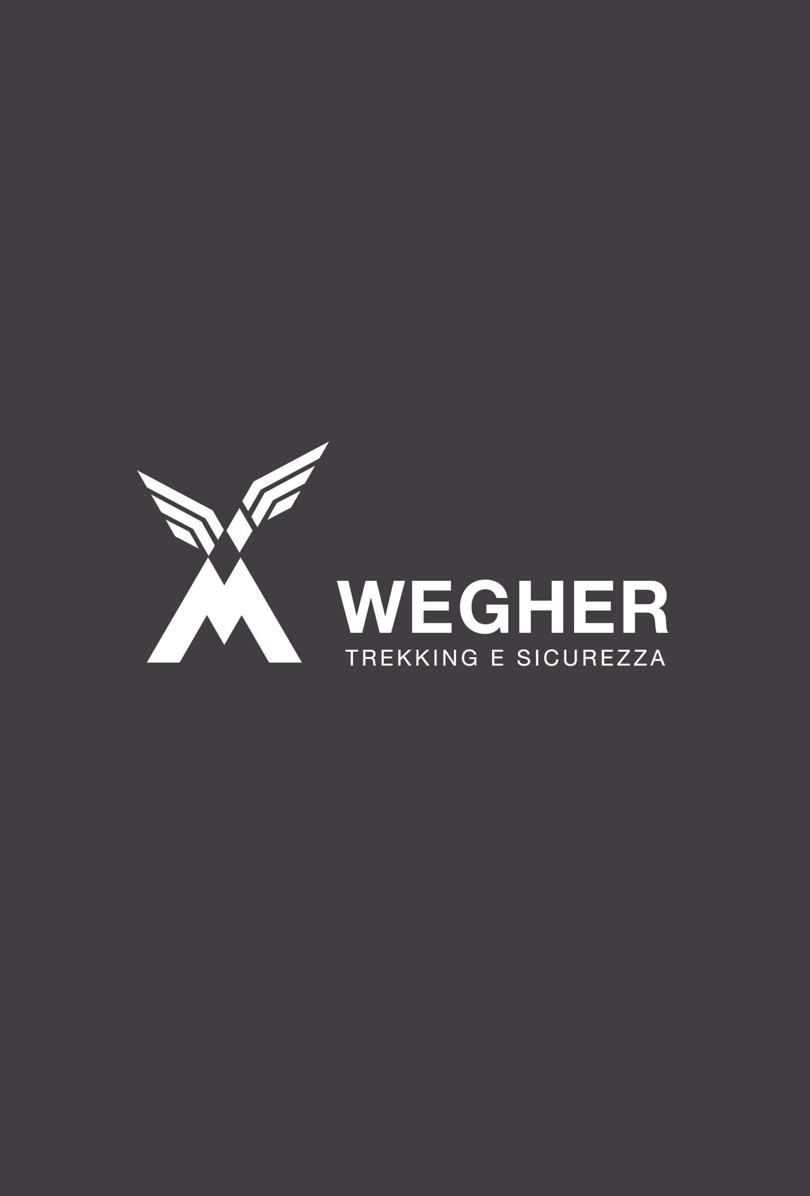 progetto del marchio in versione negativa wegher, realizzato dallo studio grafico diadestudio di trento