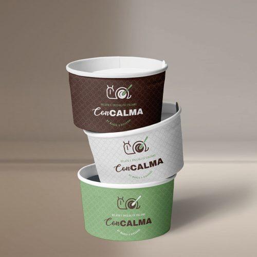 coppette gelato personalizzate con logo gelateria, progetto grafico del packaging alimentare diadestudio immagine e comunicazione arco trento