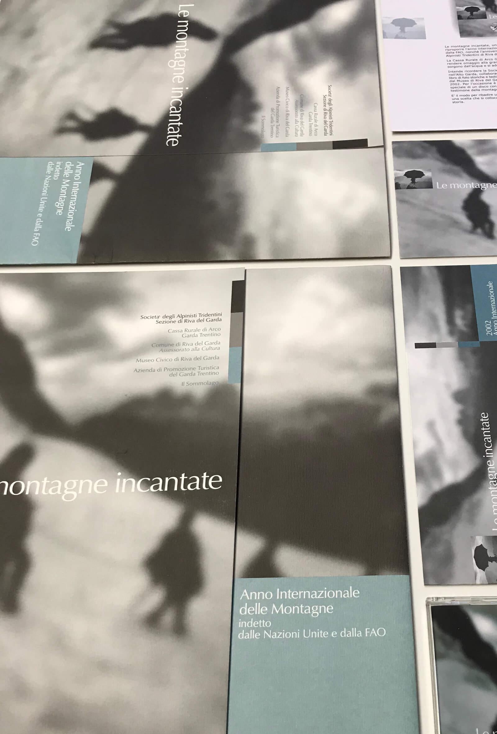 dettagli del progetto di immagine coordinata, realizzato per la rassegna -le montagne incantate- anno internazionale della montagna trento, ideato dalla agenzia di comunicazione diadestudio arco di trento