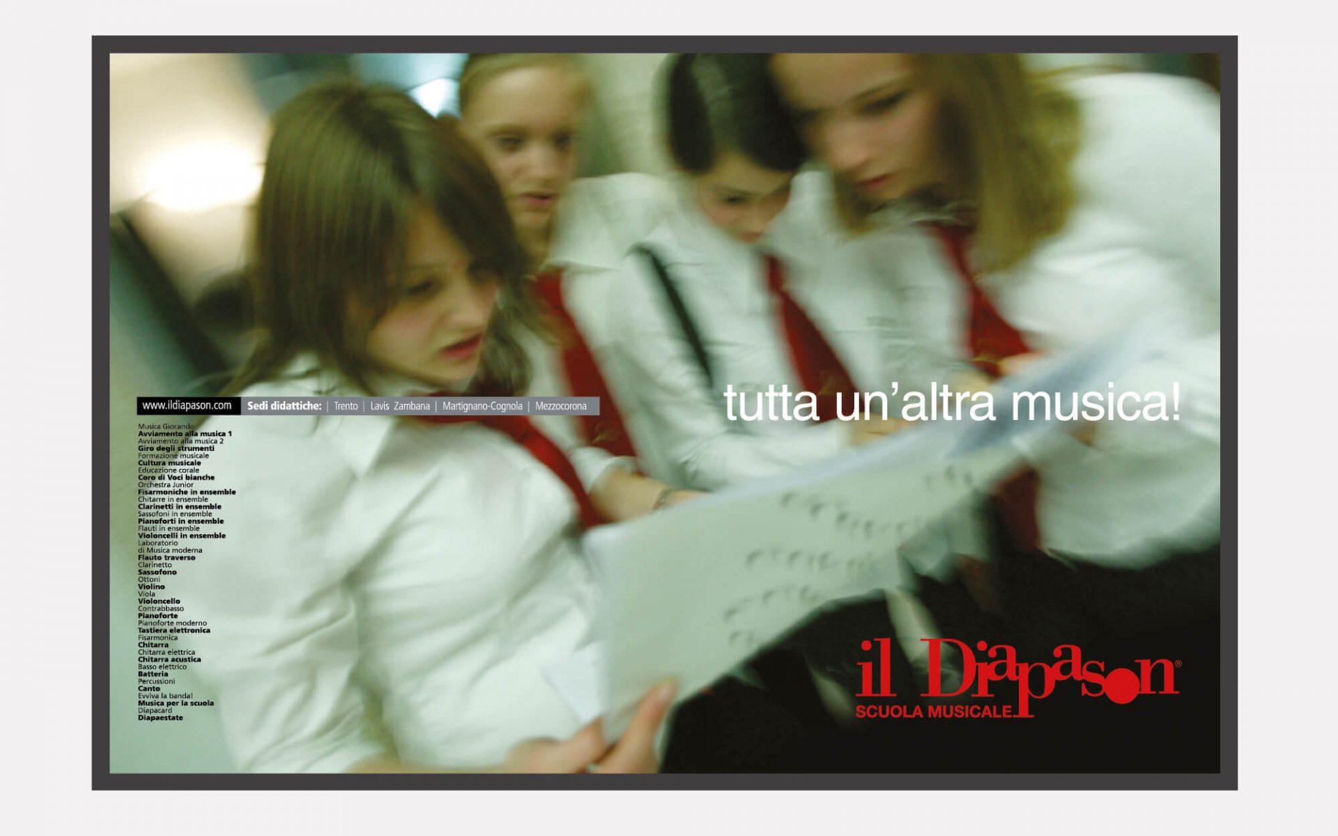 adv creata per la scuola musicale il diapason, per promuovere i corsi musicali. Progetto grafico diadestudio arco trento