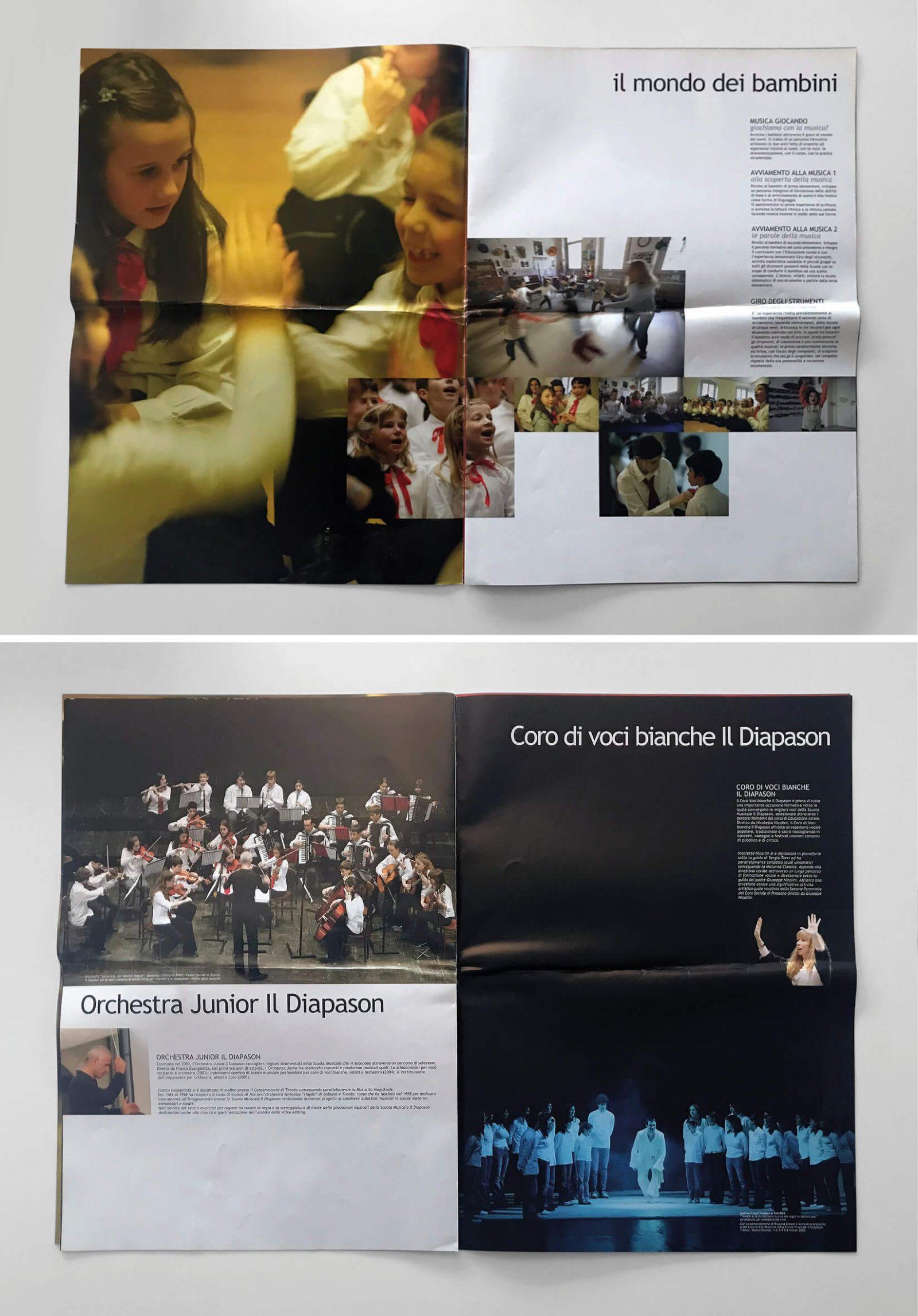 pagine del magazine scuola musicale diapason, in formato tabloid, progettato dalla agenzia di comunicazione grafica diadestudio arco di trento