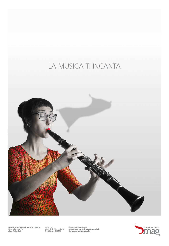serie di annunci stampa creati per la campagna di inaugurazione della scuola musicale alto garda, progetto annunci studio grafico e agenzia di pubblicità diadestudio arco di trento