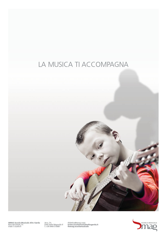 annuncio pubblicitario inaugurazione sede scuola musicale riva, progetto grafico diade studio arco di trento