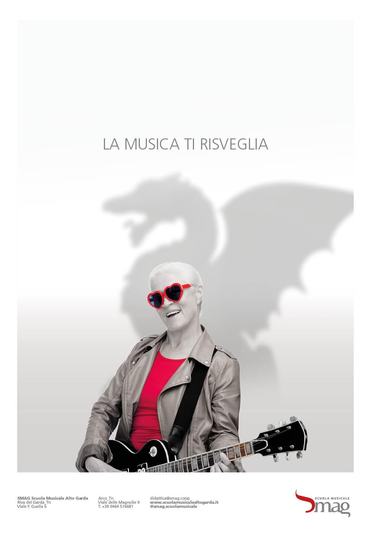 annuncio pubblicitario inaugurazione sede scuola musicale riva, progettazione grafica diade studio agenzia di pubblicità, arco di trento