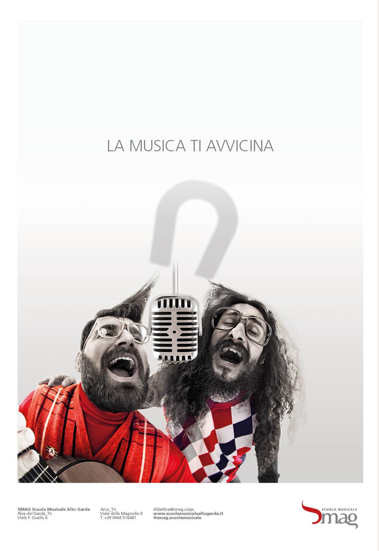 dettaglio annuncio pubblicitario della campagna stampa per l'inaugurazione della scuola musicale alto garda, advertising creata dalla agenzia di pubblicità diade studio arco di trento