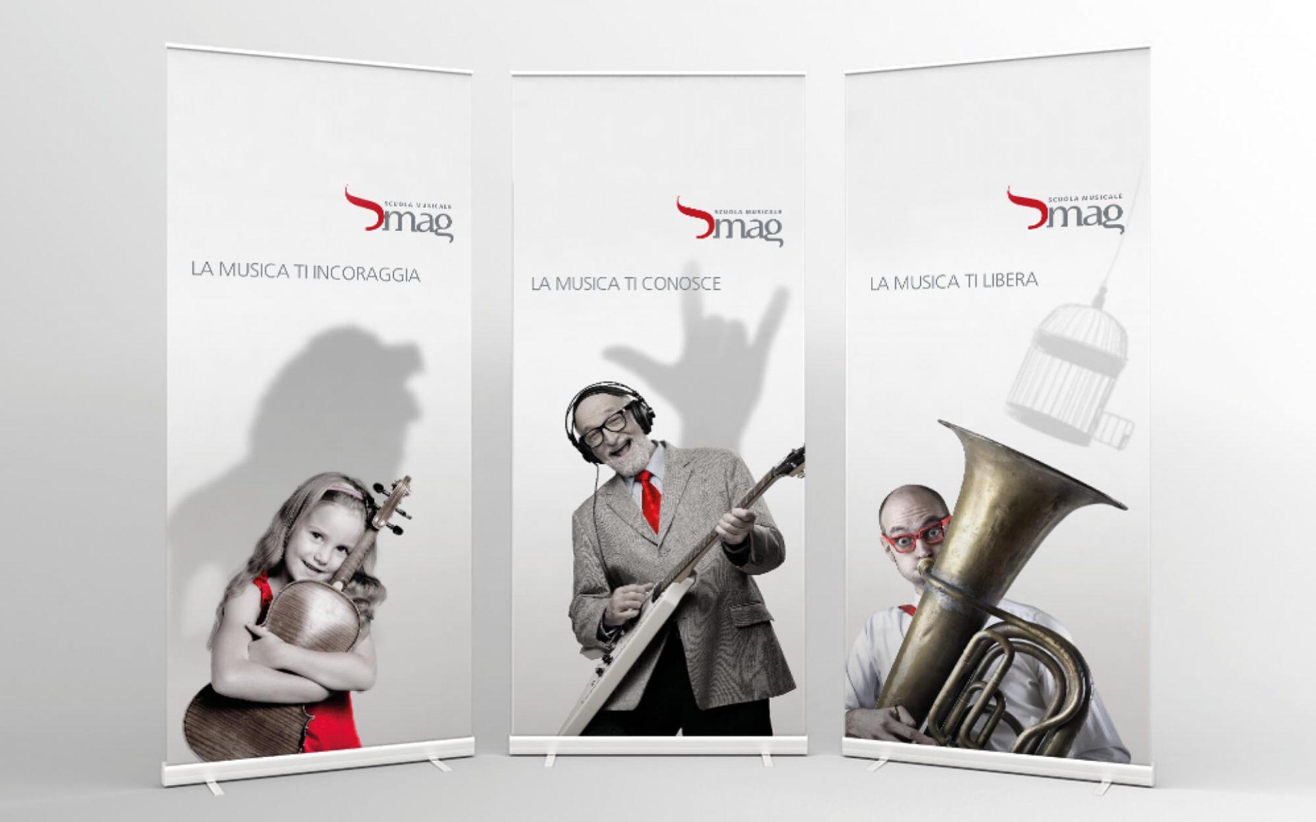 banner pubblicitario inaugurazione sede scuola musicale riva, progetto advertising diade studio arco di trento