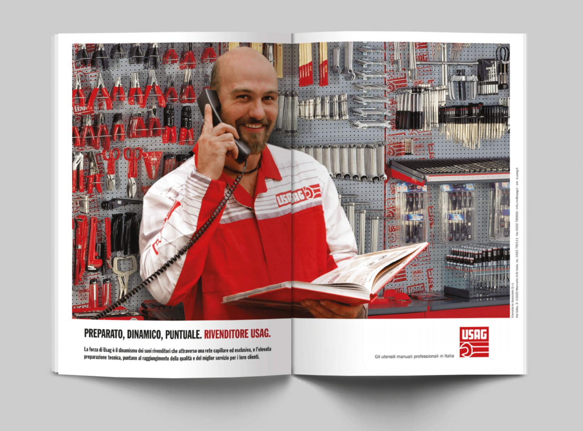 doppia pagina per annuncio pubblicitariao usag italia, per la promozione dei punti vendita, progettata dalla agenzia di comunicazione diadestudio arco trento