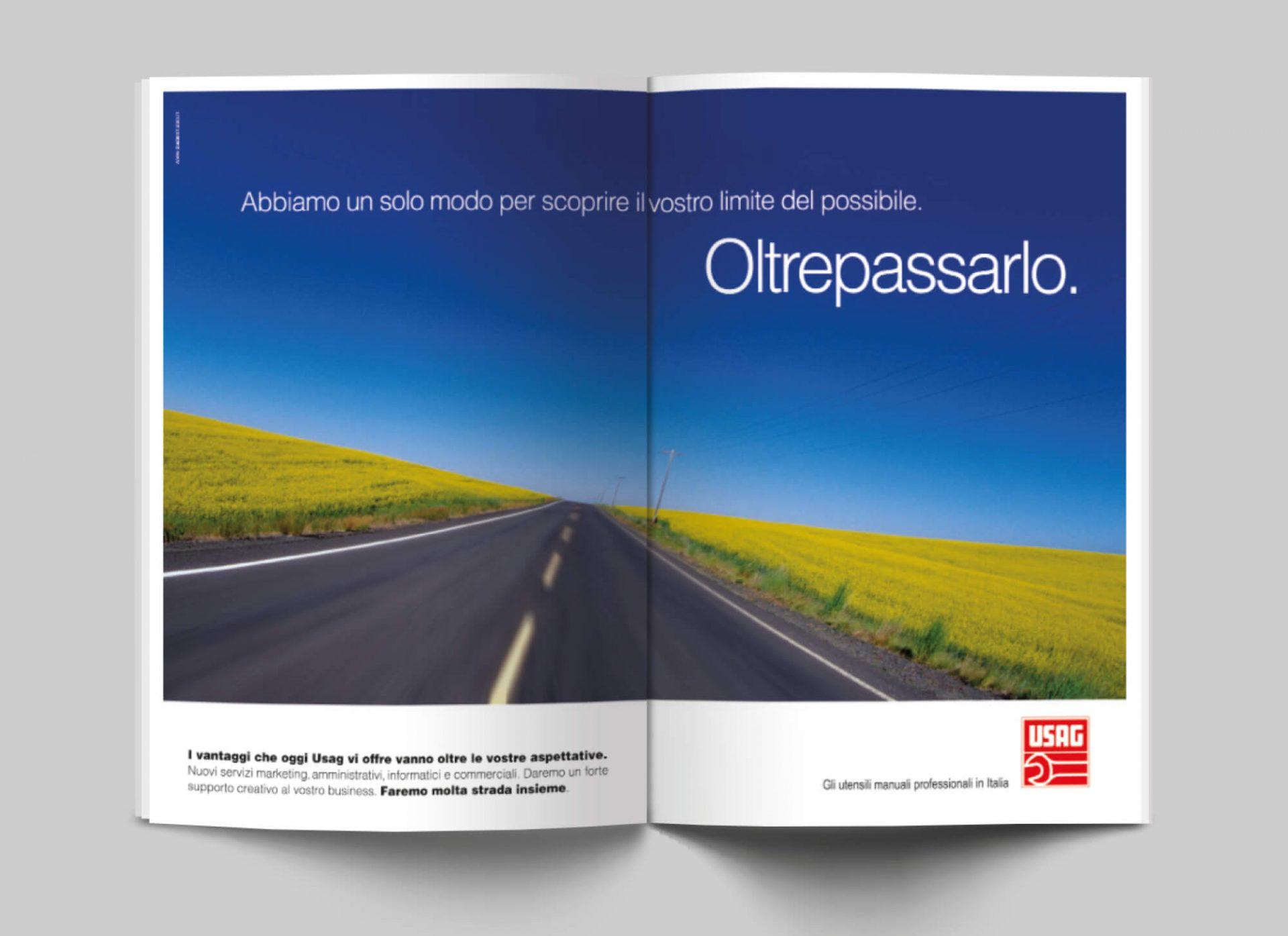 doppia pagina per inserzione pubblicitaria usag italia, progettata dalla agenzia di comunicazione diadestudio arco trento
